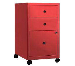 1 tiroir pour dossiers suspendus A4. 2 tiroirs de rangement. Serrure à clé bloquant les tiroirs. Structure : en acier laqué d'époxy. Garantie : 2 ans , Pièces , Main d'oeuvre , Déplacement Tiroirs : 3. Teinte : rouge. Dimensions en cm : L. 40 - H. 71 - P.
