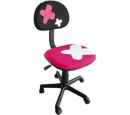 Chaise De Bureau Enfant PINKY Rose Et Noir