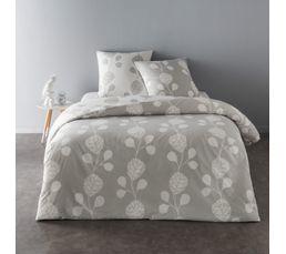 Un design bicolore rappellant les plantes grimpantes. 100% coton. Composition : 100% coton. Dimensions en cm : Housse de couette 240x220 + 2 taies d'oreiller 65x65. . Coloris gris.