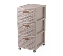 COUNTRY Tour de rangement multi-tiroirs Taupe