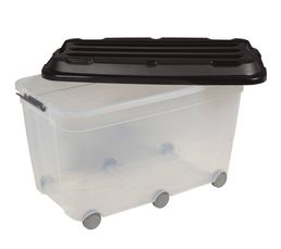 Bac de rangement à roulettes KLIPSO MEGA 85 litres / Transparent