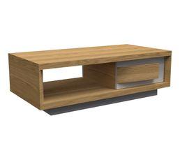 Table basse 1 tiroir LIAGO Chêne/ blanc