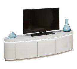 Meuble TV 3 portes ELLIPSE placage chêne blanchi/blanc