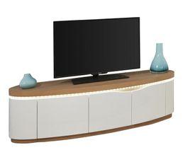 Meuble TV 3 portes ELLIPSE placage chêne naturel/blanc