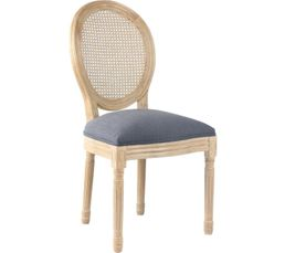 Chaise cannage et tissu MEDAILLON Gris anthracite
