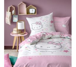 Housse de couette 140x200 + 1 HELLO KITTY GALAXY Rose/blanc