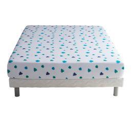 drap housse 140x200 cm nuit tropicale blanc bleu drap housse but. Black Bedroom Furniture Sets. Home Design Ideas