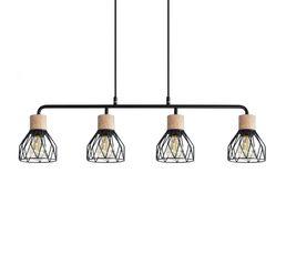 Barre suspension 4 lumières CLAYTON noir