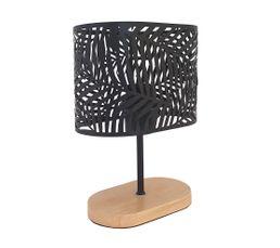 lampe socle bois métal H.25 cm ASMARA noir