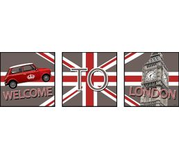 WELCOME Set de 3 Box Art 20X20 Gris/Rouge