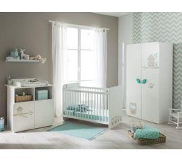 Armoire 2 portes bébé HIBOUX Blanc