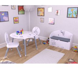 Set table + 2 chaises enfant BEAR Gris et blanc motif ours