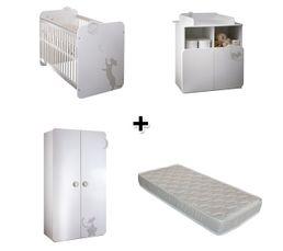 Lit + commode à langer + armoire KITTY + matelas ZOE 60x120 cm