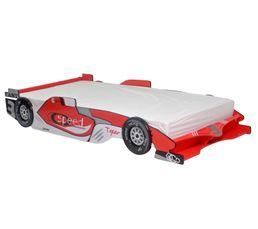 Lit 90 x 190 cm Castellet rouge avec sérigraphie
