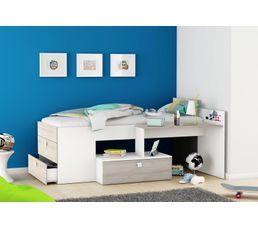 Lit combiné avec bureau Coloris chêne clair et blanc TOTALLY