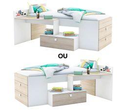 Coloris chêne clair et blanc Lit combiné avec bureau TOTALLY