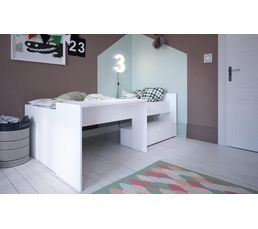 Lit combiné avec bureau 90x200 cm blanc BONY
