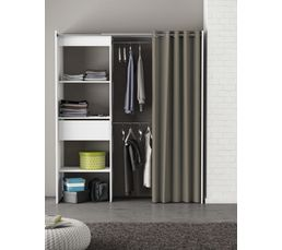 Armoire dressing extensible moka blanc perle rideau gris dressings but - Rideau armoire et dressing ...