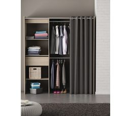armoire dressing extensible moka ch ne bross rideau gris dressings but. Black Bedroom Furniture Sets. Home Design Ideas