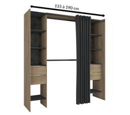 Dressing extensible DANA imitation chêne et noir Style industriel-115 à 190 cm