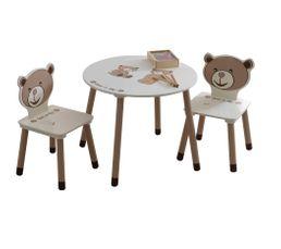 Table enfant TEDLY Blanc et Beige