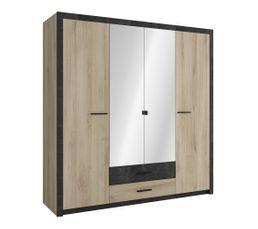 Armoire 4 portes avec miroir, lingère et penderie COLO - style industriel