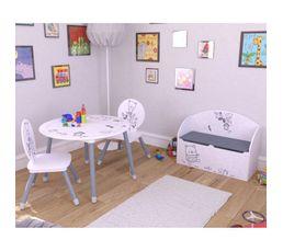 coffre a jouets bear blanc et gris motif ours coffres. Black Bedroom Furniture Sets. Home Design Ideas