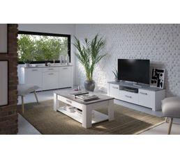 Meuble Tv Loukia Blanc Et Béton Meubles Tv But