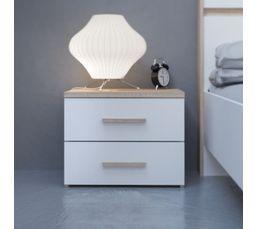 Chevet 2 tiroirs Coloris chêne et blanc SALINE