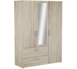 Ready Armoire 3 portes 2 tiroirs imitation  chêne