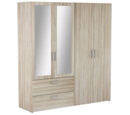 Ready Armoire 4 portes 2 tiroirs imitation  chêne