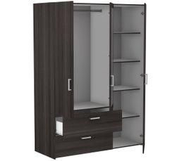 Armoire 3 portes 2 tiroirs Ready imitation  chêne foncé