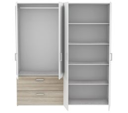 Armoire 4 portes 2 tiroirs L.179 cm Ready imitation chêne et blanc But