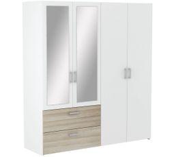 Ready Armoire 4 portes 2 tiroirs imitation  chêne et blanc