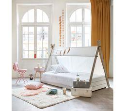lit tipi 90x200 cm tipi coloris blanc et taupe lits but. Black Bedroom Furniture Sets. Home Design Ideas