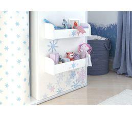 Votre enfant s'envolera dans ses rêves les plus lointains, grâce aux motifs étoilés et féeriques de cette chambre. Offrez à vos enfants, un espace de rangement à leur hauteur. Structure : en panneaux de fibres de moyenne densité. et panneaux de particules