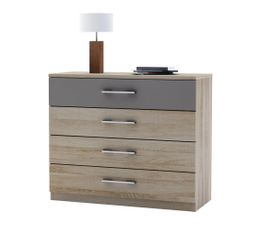 Commode 4 tiroirs maya imitation ch ne griff commodes - Commode bois pas cher ...