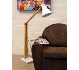 Lampadaire en bois COOPER et blanc laqué H.137 cm