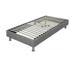 DECOKIT Sommier tissu 90 x 190 cm GRIS CHINE