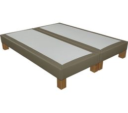 SIGNATURE Sommier PU taupe 2x80x200 cm CHARME lattes