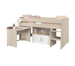 Lit combiné avec bureau 90x200 cm LOAN imitation chêne et blanc