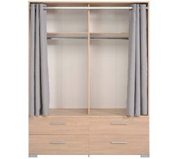 Armoire 4 tiroirs 2 rideaux EKKO imitation chêne