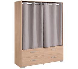 EKKO Armoire 4 tiroirs 2 rideaux imitation chêne
