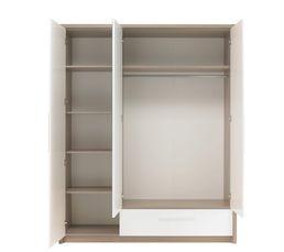 Armoire 3 portes 1 tiroir FARO 1 H84 140 imitation frêne gris
