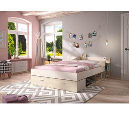 Lit 140x190 cm avec rangements TONIGHT Coloris pin blanchi et blanc