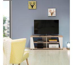 Meuble TV ORIGAMI Chêne et blanc
