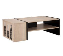 BOX Table basse + coffre Chêne clair/noir