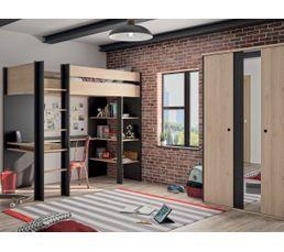 Lit Mezzanine Duplex Imitation Chataigner Et Noir Lits Superposes