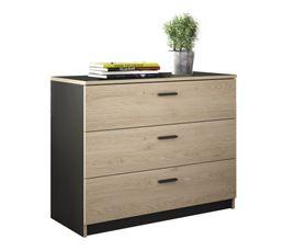 Commode 3 tiroirs TONIGHT – Style industriel coloris noir et imitation chataignier