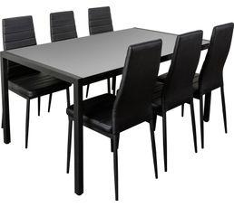 Ensemble table+ 6 chaises ANA Noir